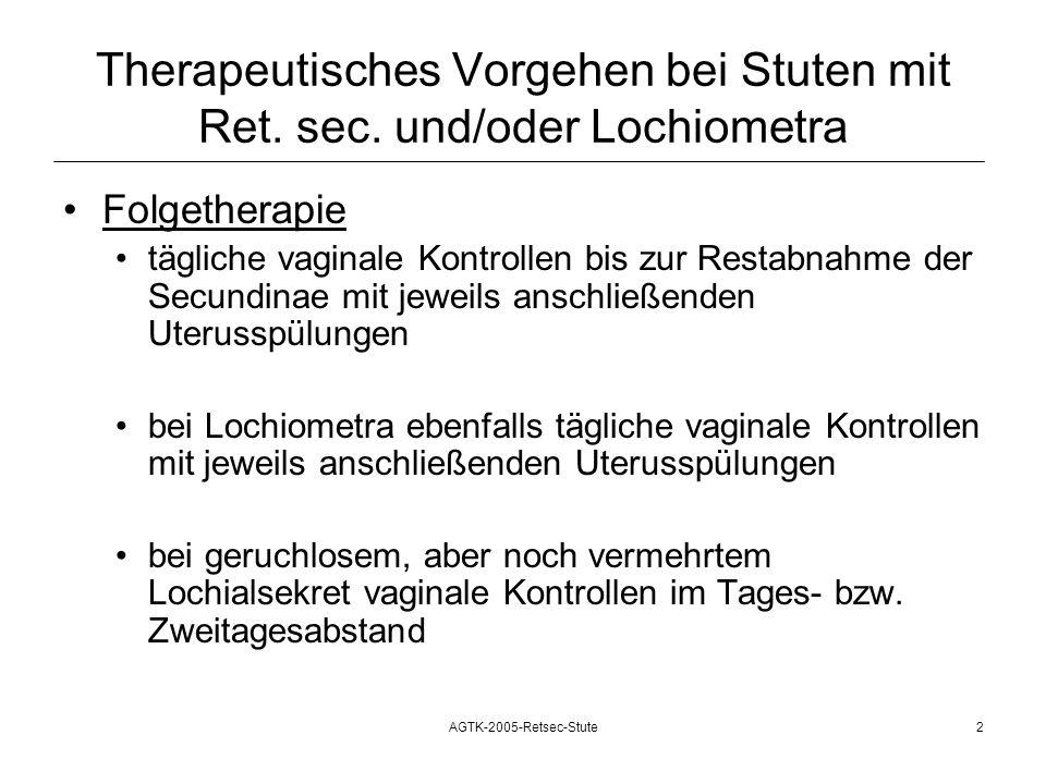 AGTK-2005-Retsec-Stute2 Therapeutisches Vorgehen bei Stuten mit Ret. sec. und/oder Lochiometra Folgetherapie tägliche vaginale Kontrollen bis zur Rest