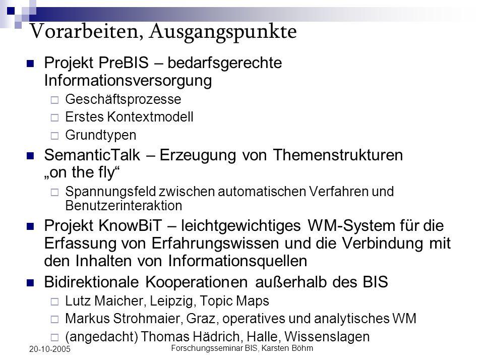 Forschungsseminar BIS, Karsten Böhm 20-10-2005 Vorarbeiten, Ausgangspunkte Projekt PreBIS – bedarfsgerechte Informationsversorgung Geschäftsprozesse Erstes Kontextmodell Grundtypen SemanticTalk – Erzeugung von Themenstrukturen on the fly Spannungsfeld zwischen automatischen Verfahren und Benutzerinteraktion Projekt KnowBiT – leichtgewichtiges WM-System für die Erfassung von Erfahrungswissen und die Verbindung mit den Inhalten von Informationsquellen Bidirektionale Kooperationen außerhalb des BIS Lutz Maicher, Leipzig, Topic Maps Markus Strohmaier, Graz, operatives und analytisches WM (angedacht) Thomas Hädrich, Halle, Wissenslagen