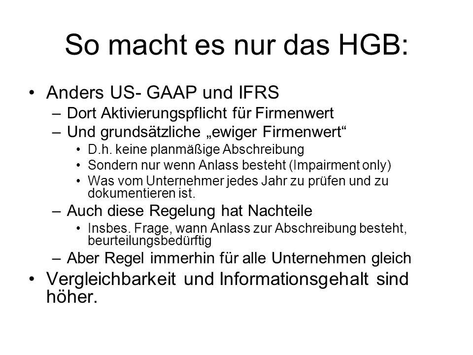 So macht es nur das HGB: Anders US- GAAP und IFRS –Dort Aktivierungspflicht für Firmenwert –Und grundsätzliche ewiger Firmenwert D.h. keine planmäßige