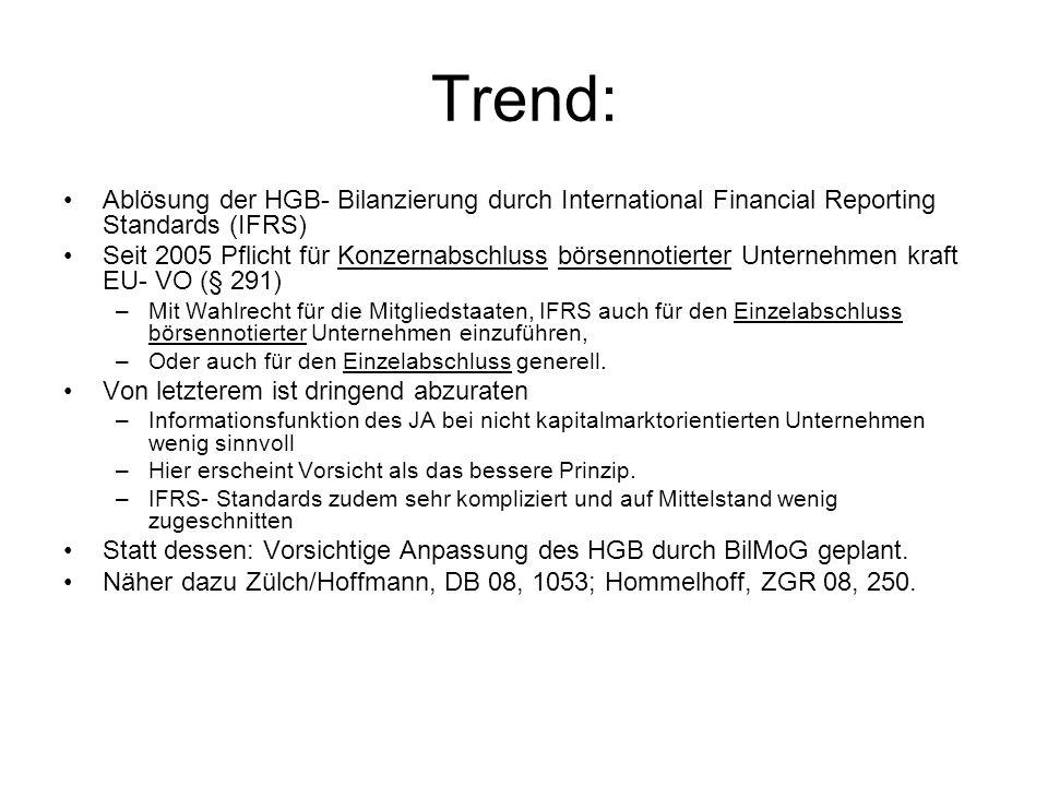 Trend: Ablösung der HGB- Bilanzierung durch International Financial Reporting Standards (IFRS) Seit 2005 Pflicht für Konzernabschluss börsennotierter