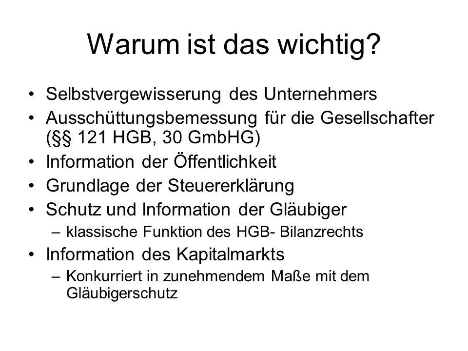Warum ist das wichtig? Selbstvergewisserung des Unternehmers Ausschüttungsbemessung für die Gesellschafter (§§ 121 HGB, 30 GmbHG) Information der Öffe