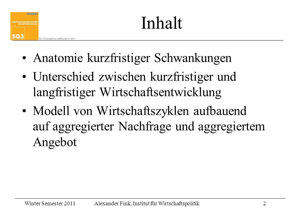 Winter Semester 2011Alexander Fink, Institut für Wirtschaftspolitik2 Inhalt Anatomie kurzfristiger Schwankungen Unterschied zwischen kurzfristiger und