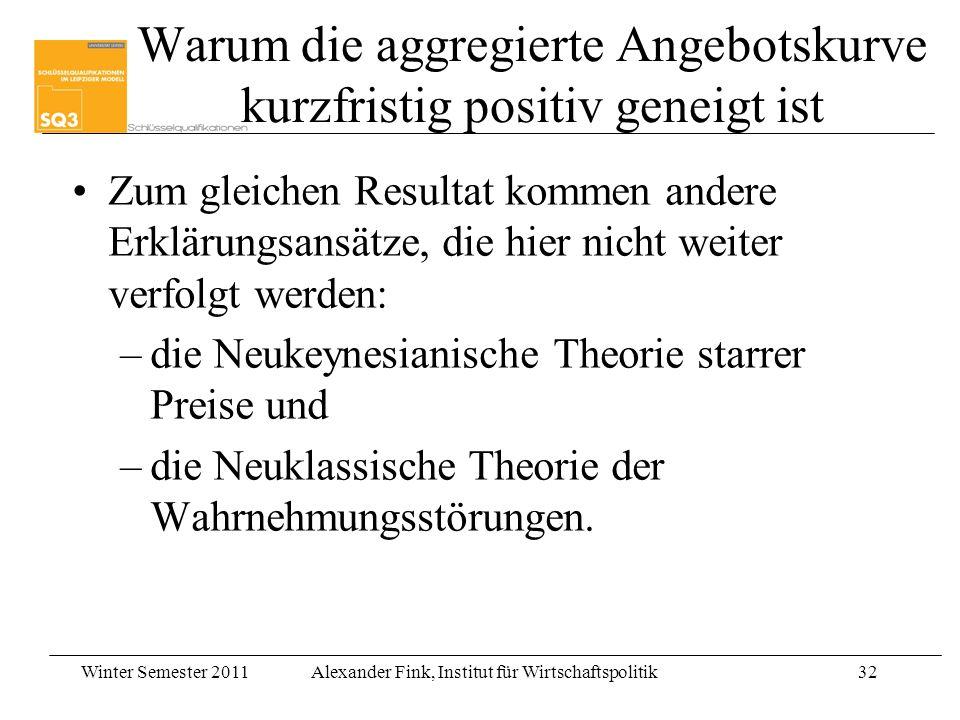 Winter Semester 2011Alexander Fink, Institut für Wirtschaftspolitik32 Warum die aggregierte Angebotskurve kurzfristig positiv geneigt ist Zum gleichen