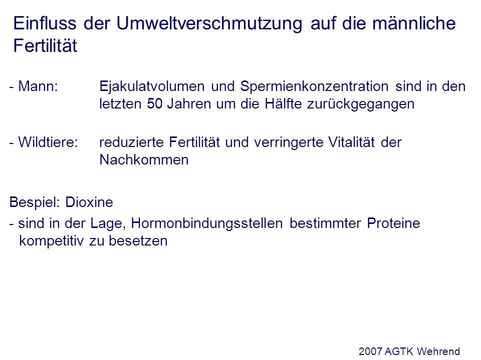 Einfluss der Umweltverschmutzung auf die männliche Fertilität - Mann: Ejakulatvolumen und Spermienkonzentration sind in den letzten 50 Jahren um die Hälfte zurückgegangen - Wildtiere:reduzierte Fertilität und verringerte Vitalität der Nachkommen Bespiel: Dioxine - sind in der Lage, Hormonbindungsstellen bestimmter Proteine kompetitiv zu besetzen 2007 AGTK Wehrend