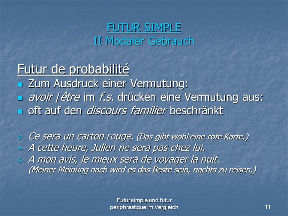 Futur simple und futur périphrastique im Vergleich11 FUTUR SIMPLE II Modaler Gebrauch Futur de probabilité Zum Ausdruck einer Vermutung: Zum Ausdruck
