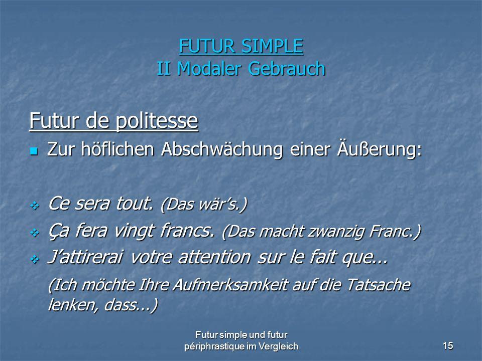 Futur simple und futur périphrastique im Vergleich15 FUTUR SIMPLE II Modaler Gebrauch Futur de politesse Zur höflichen Abschwächung einer Äußerung: Zu