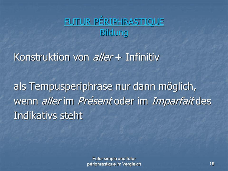 Futur simple und futur périphrastique im Vergleich19 FUTUR PÉRIPHRASTIQUE Bildung Konstruktion von aller + Infinitiv als Tempusperiphrase nur dann mög