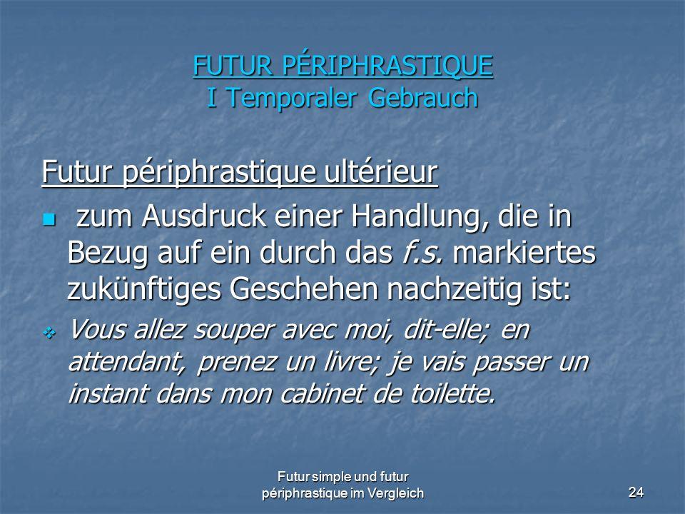 Futur simple und futur périphrastique im Vergleich24 FUTUR PÉRIPHRASTIQUE I Temporaler Gebrauch Futur périphrastique ultérieur zum Ausdruck einer Hand