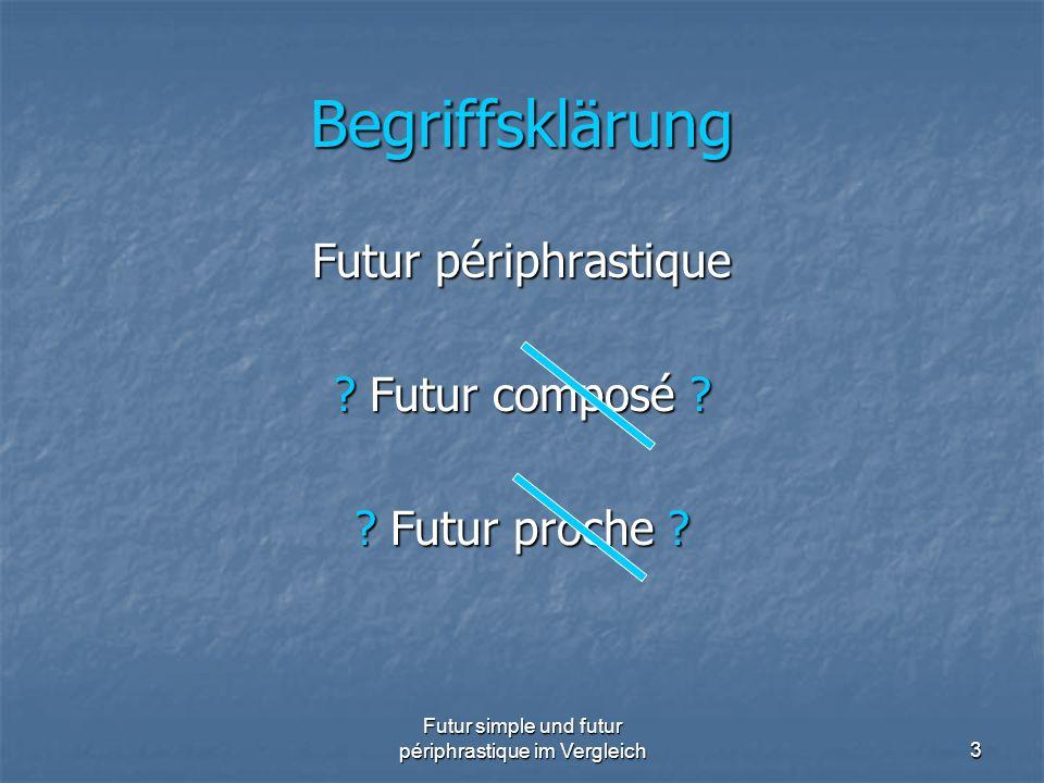 Futur simple und futur périphrastique im Vergleich24 FUTUR PÉRIPHRASTIQUE I Temporaler Gebrauch Futur périphrastique ultérieur zum Ausdruck einer Handlung, die in Bezug auf ein durch das f.s.