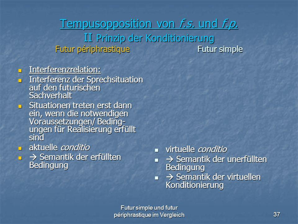 Futur simple und futur périphrastique im Vergleich37 Tempusopposition von f.s. und f.p. II Prinzip der Konditionierung Futur périphrastique Futur simp
