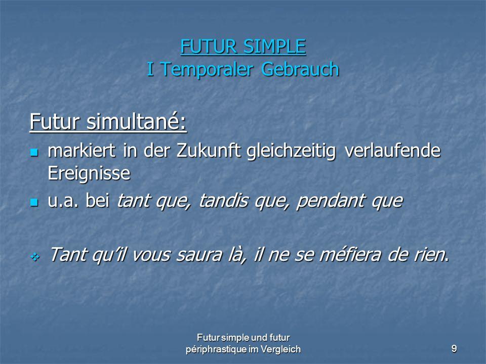 Futur simple und futur périphrastique im Vergleich9 FUTUR SIMPLE I Temporaler Gebrauch Futur simultané: markiert in der Zukunft gleichzeitig verlaufen