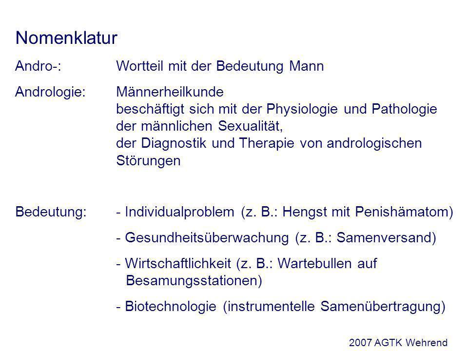 Nomenklatur Andro-:Wortteil mit der Bedeutung Mann Andrologie: Männerheilkunde beschäftigt sich mit der Physiologie und Pathologie der männlichen Sexualität, der Diagnostik und Therapie von andrologischen Störungen Bedeutung:- Individualproblem (z.