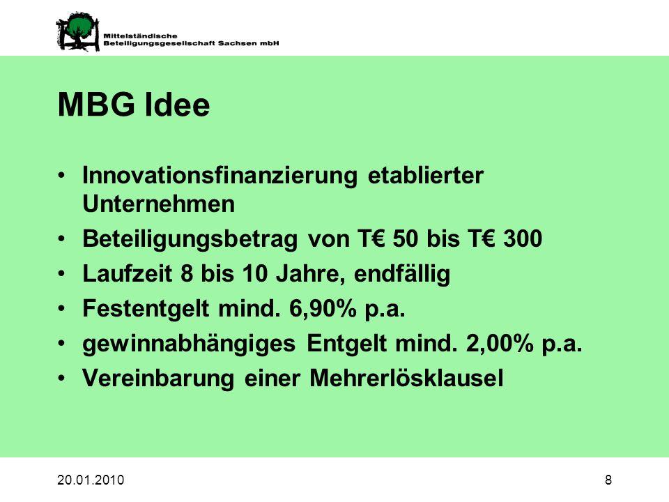 20.01.20108 MBG Idee Innovationsfinanzierung etablierter Unternehmen Beteiligungsbetrag von T 50 bis T 300 Laufzeit 8 bis 10 Jahre, endfällig Festentgelt mind.
