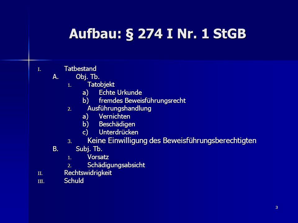 3 Aufbau: § 274 I Nr. 1 StGB I. Tatbestand A.Obj. Tb. 1. Tatobjekt a)Echte Urkunde b)fremdes Beweisführungsrecht 2. Ausführungshandlung a)Vernichten b