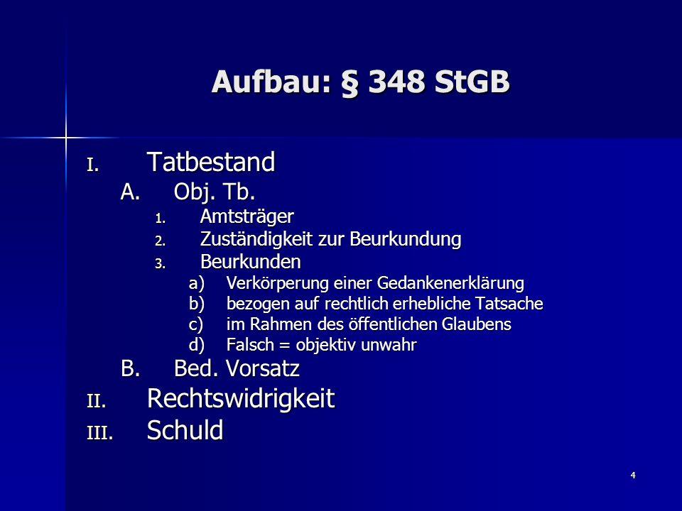 5 Aufbau: § 271 StGB I.Prüfung des Vordermannes, § 348 I StGB A.Tatbestand 1.