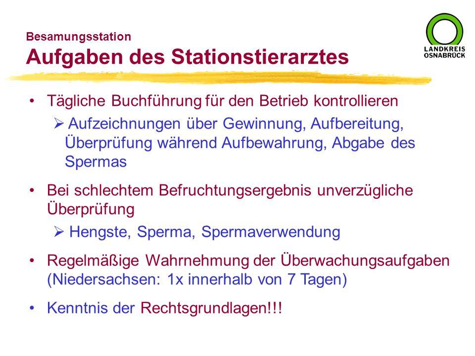 Besamungsstation Aufgaben des Stationstierarztes Tägliche Buchführung für den Betrieb kontrollieren Aufzeichnungen über Gewinnung, Aufbereitung, Überp