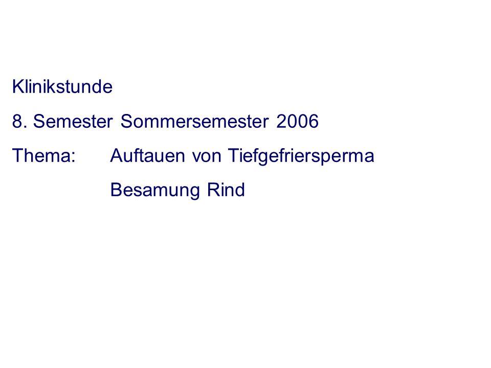 Klinikstunde 8. Semester Sommersemester 2006 Thema: Auftauen von Tiefgefriersperma Besamung Rind