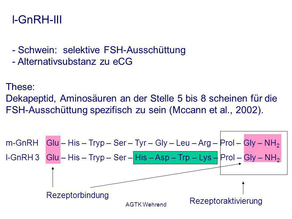 AGTK Wehrend Rezeptorbindung l-GnRH-III - Schwein: selektive FSH-Ausschüttung - Alternativsubstanz zu eCG These: Dekapeptid, Aminosäuren an der Stelle