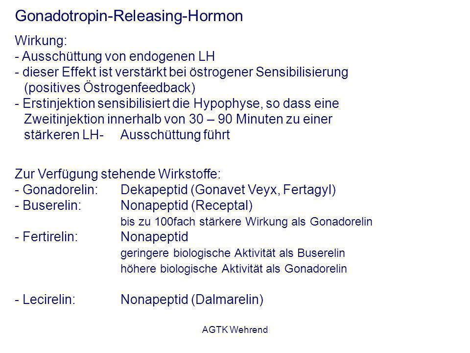 AGTK Wehrend Gonadotropin-Releasing-Hormon Wirkung: - Ausschüttung von endogenen LH - dieser Effekt ist verstärkt bei östrogener Sensibilisierung (pos