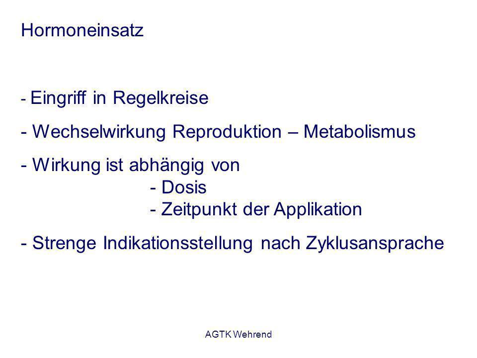 AGTK Wehrend Indikationen - Substitution: Kompensation eines relativen oder absoluten Hormonmangels Bespiele: Östrogengabe bei Inkontinenz Gestagengabe bei Gelbkörperinsuffiziens - Stimulation: Anregung einer endogenen Hormonwirkung Bespiele: Läufigkeitsinduktion mit eCG - Inhibition: Unterdrückung einer endogenen Hormonsynthese Bespiele: Läufigkeitsunterdrückung mit Gestagenen