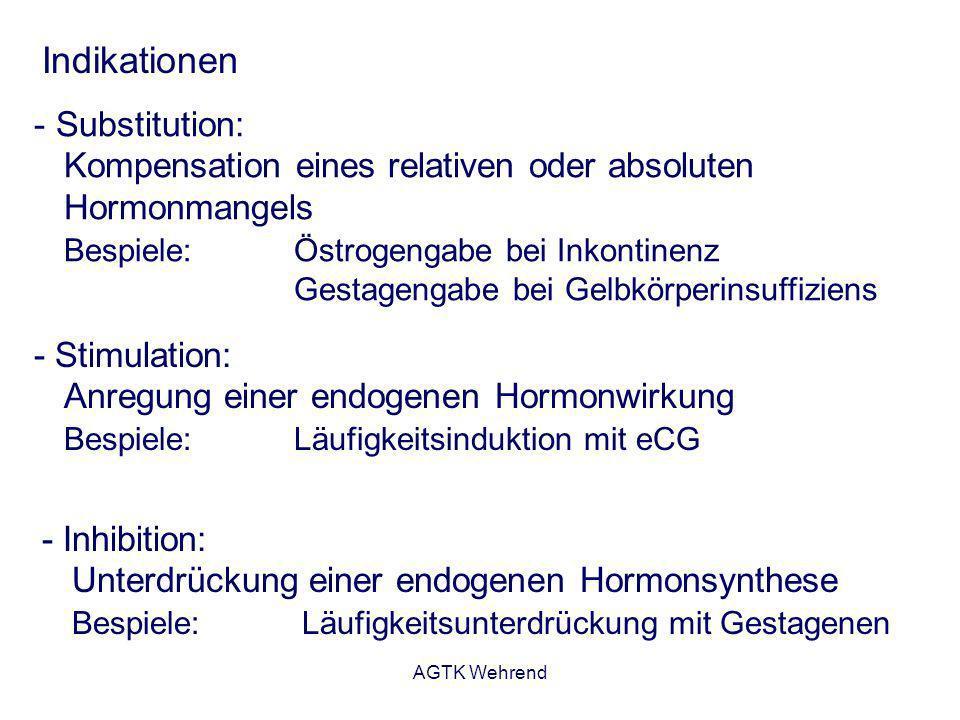 AGTK Wehrend Indikationen - Substitution: Kompensation eines relativen oder absoluten Hormonmangels Bespiele: Östrogengabe bei Inkontinenz Gestagengab