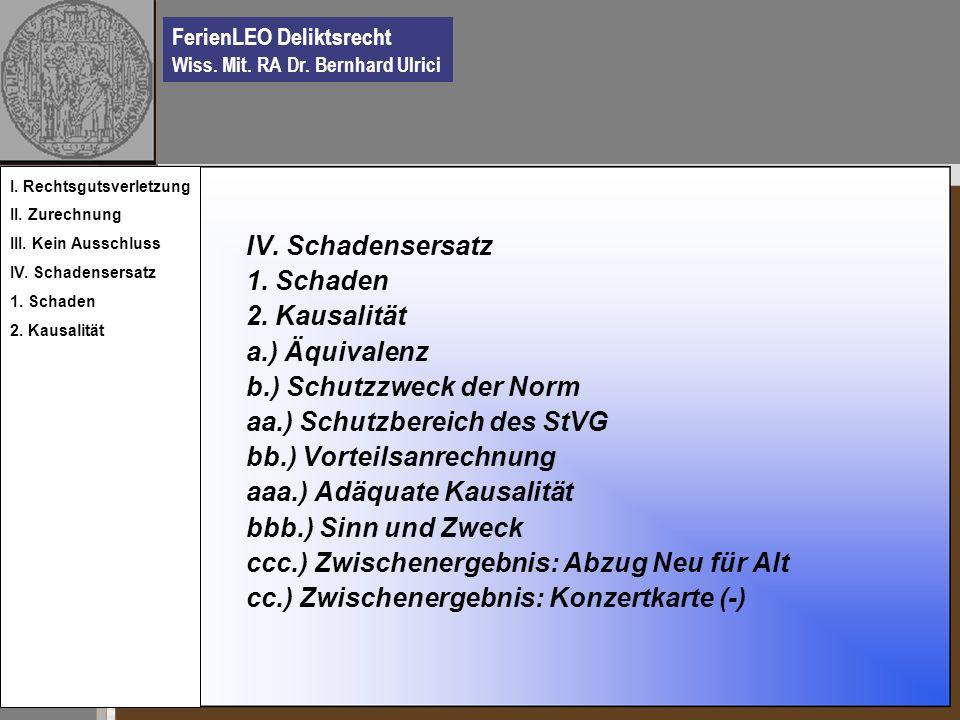 FerienLEO Deliktsrecht Wiss. Mit. RA Dr. Bernhard Ulrici IV. Schadensersatz 1. Schaden 2. Kausalität a.) Äquivalenz b.) Schutzzweck der Norm aa.) Schu