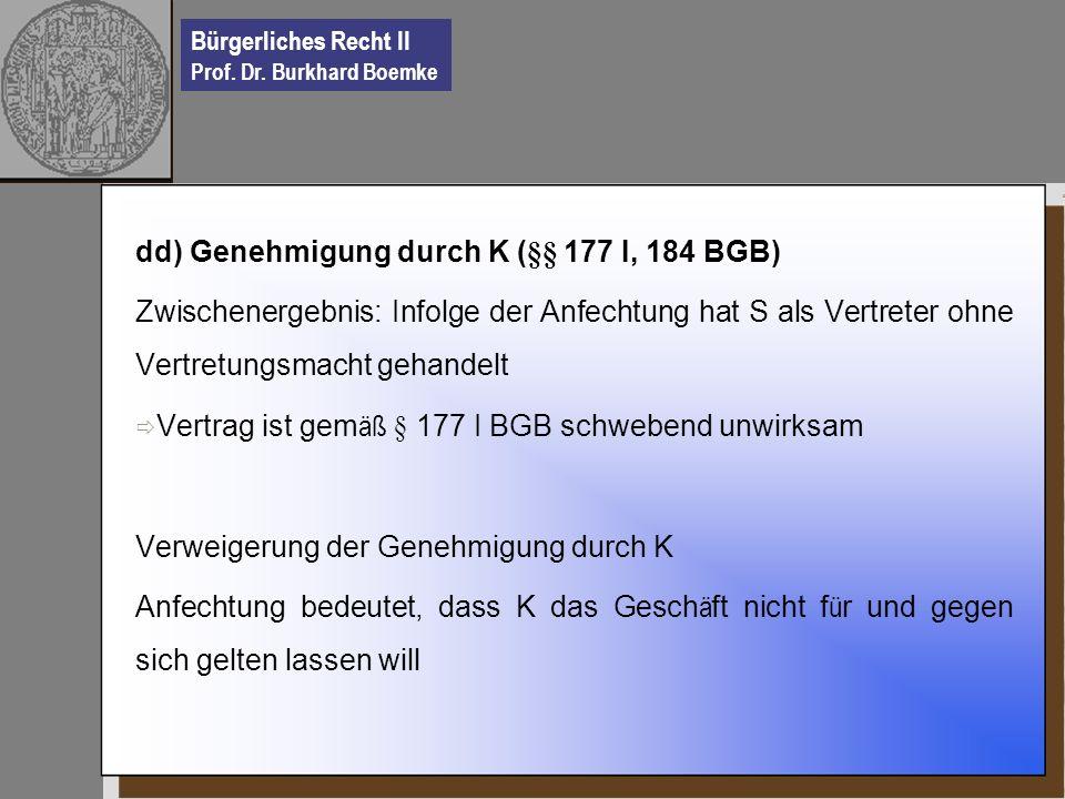 Bürgerliches Recht II Prof. Dr. Burkhard Boemke dd) Genehmigung durch K (§§ 177 I, 184 BGB) Zwischenergebnis: Infolge der Anfechtung hat S als Vertret