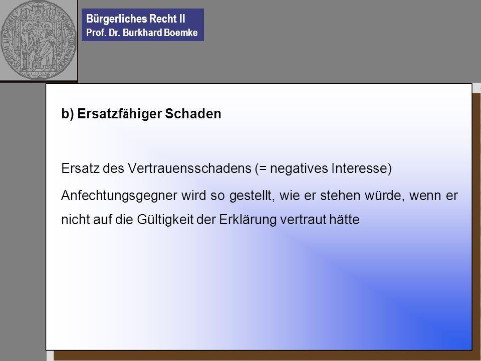 Bürgerliches Recht II Prof. Dr. Burkhard Boemke b) Ersatzf ä higer Schaden Ersatz des Vertrauensschadens (= negatives Interesse) Anfechtungsgegner wir