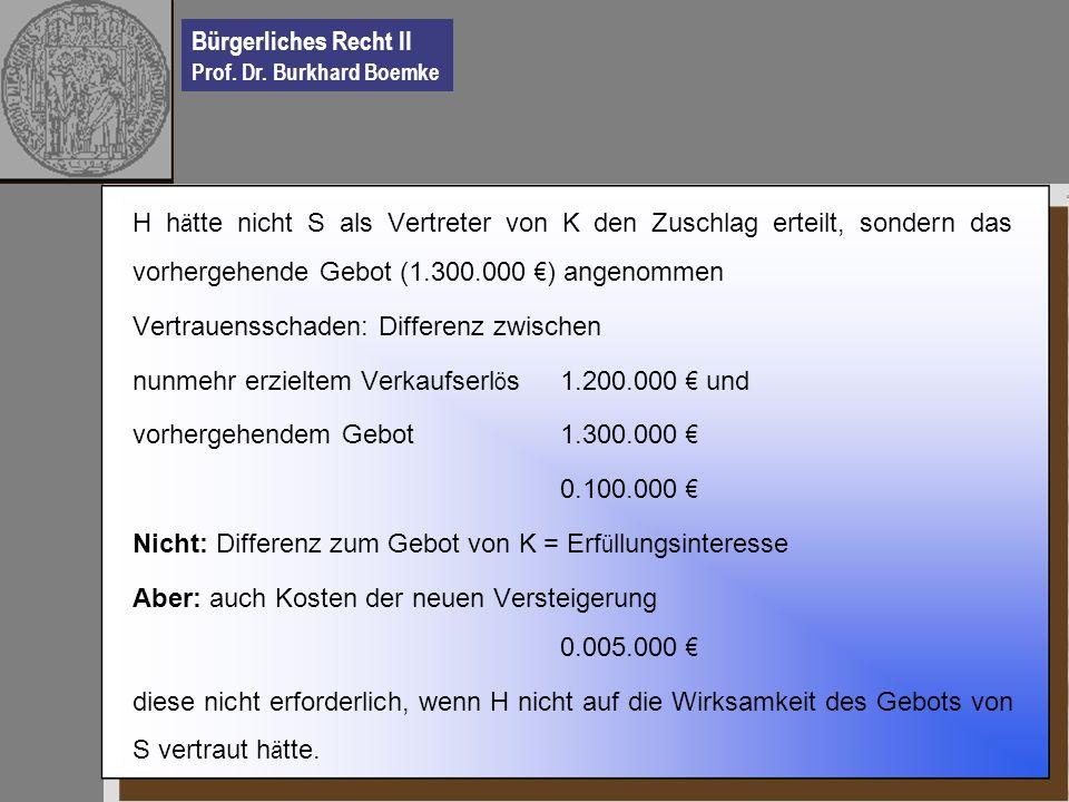 Bürgerliches Recht II Prof. Dr. Burkhard Boemke H h ä tte nicht S als Vertreter von K den Zuschlag erteilt, sondern das vorhergehende Gebot (1.300.000