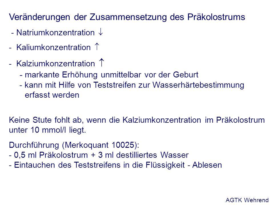 Veränderungen der Zusammensetzung des Präkolostrums - Natriumkonzentration - Kaliumkonzentration - Kalziumkonzentration - markante Erhöhung unmittelbar vor der Geburt - kann mit Hilfe von Teststreifen zur Wasserhärtebestimmung erfasst werden Keine Stute fohlt ab, wenn die Kalziumkonzentration im Präkolostrum unter 10 mmol/l liegt.
