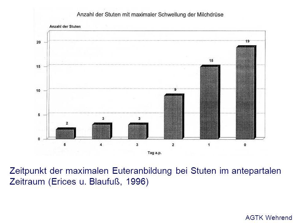 Beeinflussung der Geburtskräfte Fruchtbewegungen: + Provokation Wehen: + Oxytozin, Glukose, Kalzium - Tokolytika (ß2-Mimetika) Bauchpresse: - Lokalanästhetika 2% als Epiduralanästhesie Grunert, 1993 AGTK Wehrend