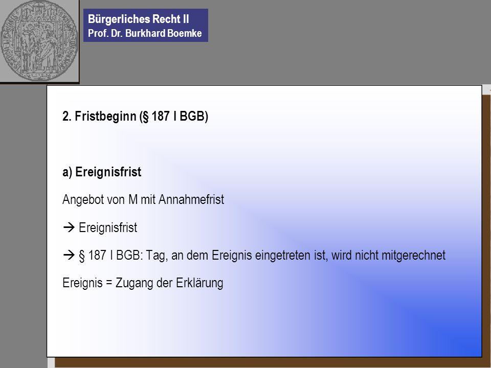Bürgerliches Recht II Prof. Dr. Burkhard Boemke 2. Fristbeginn (§ 187 I BGB) a) Ereignisfrist Angebot von M mit Annahmefrist Ereignisfrist § 187 I BGB