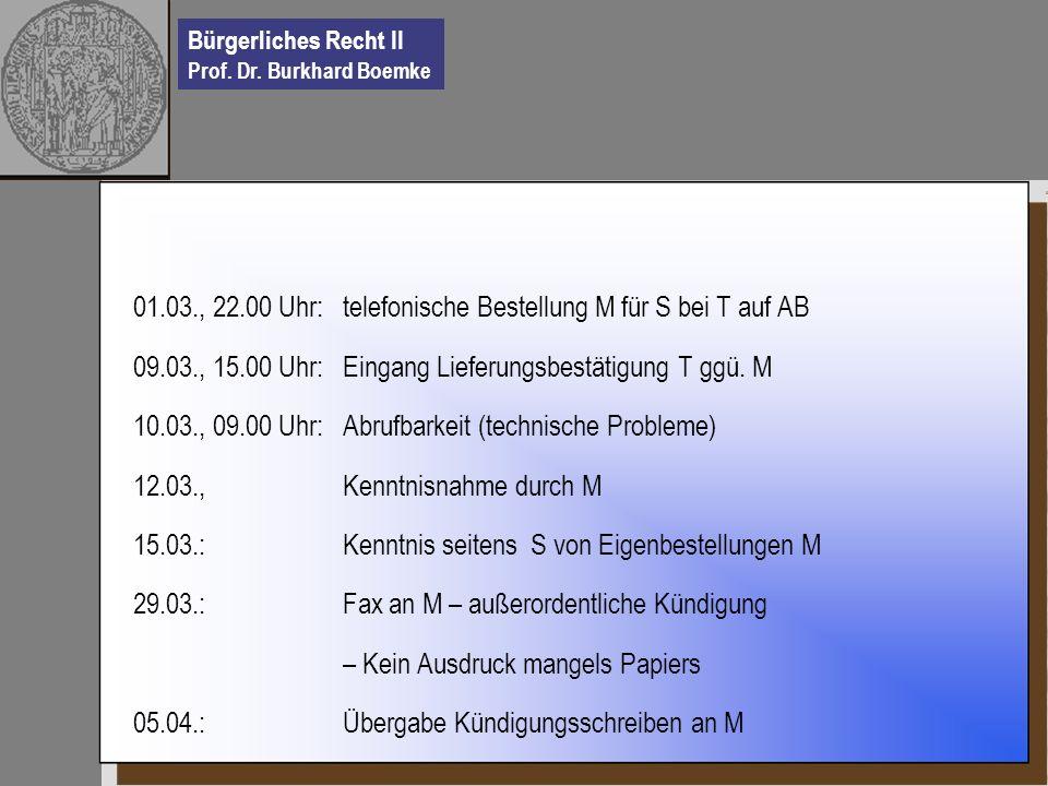 Bürgerliches Recht II Prof. Dr. Burkhard Boemke 01.03., 22.00 Uhr:telefonische Bestellung M für S bei T auf AB 09.03., 15.00 Uhr:Eingang Lieferungsbes