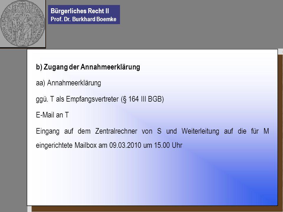 Bürgerliches Recht II Prof. Dr. Burkhard Boemke b) Zugang der Annahmeerklärung aa) Annahmeerklärung ggü. T als Empfangsvertreter (§ 164 III BGB) E-Mai