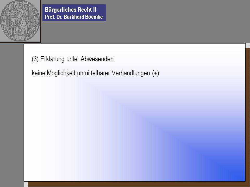 Bürgerliches Recht II Prof. Dr. Burkhard Boemke (3) Erklärung unter Abwesenden keine Möglichkeit unmittelbarer Verhandlungen (+)