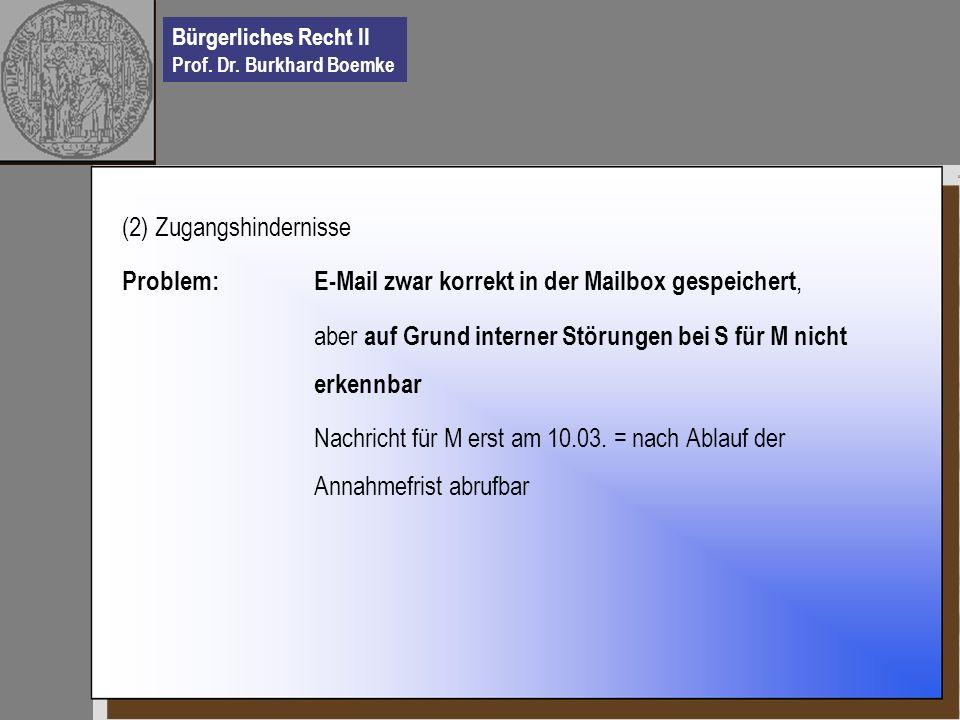 Bürgerliches Recht II Prof. Dr. Burkhard Boemke (2) Zugangshindernisse Problem: E-Mail zwar korrekt in der Mailbox gespeichert, aber auf Grund interne