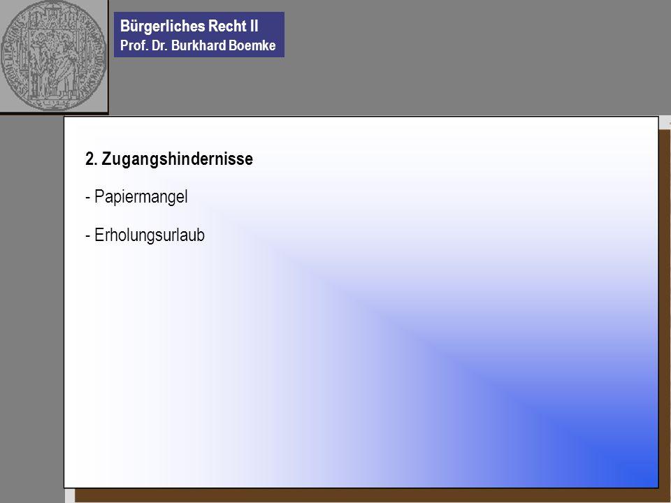 Bürgerliches Recht II Prof. Dr. Burkhard Boemke 2. Zugangshindernisse - Papiermangel - Erholungsurlaub