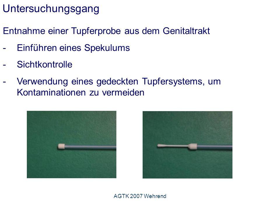 AGTK 2007 Wehrend Untersuchungsgang Entnahme einer Tupferprobe aus dem Genitaltrakt -Einführen eines Spekulums -Sichtkontrolle -Verwendung eines gedeckten Tupfersystems, um Kontaminationen zu vermeiden