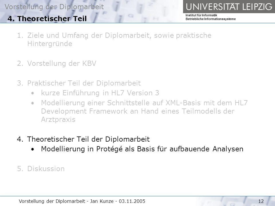Vorstellung der Diplomarbeit Institut für Informatik Betriebliche Informationssysteme Vorstellung der Diplomarbeit - Jan Kunze - 03.11.200512 4. Theor