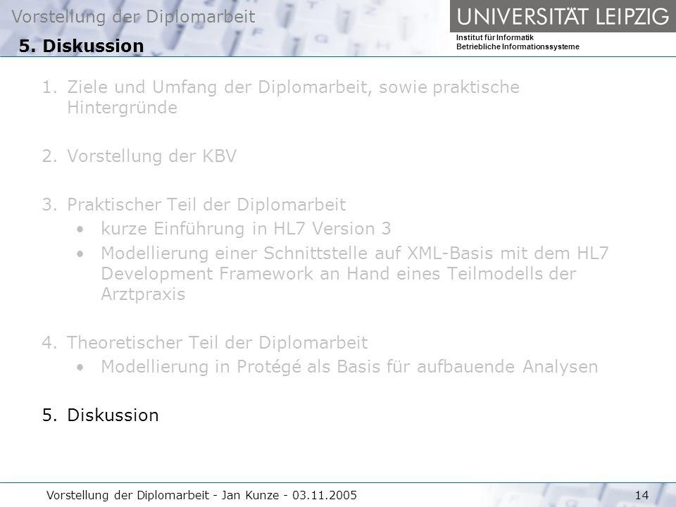 Vorstellung der Diplomarbeit Institut für Informatik Betriebliche Informationssysteme Vorstellung der Diplomarbeit - Jan Kunze - 03.11.200514 5. Disku