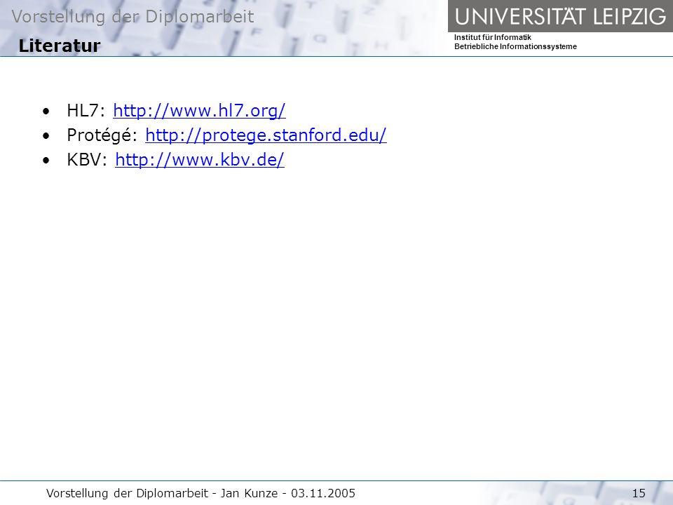 Vorstellung der Diplomarbeit Institut für Informatik Betriebliche Informationssysteme Vorstellung der Diplomarbeit - Jan Kunze - 03.11.200515 HL7: htt