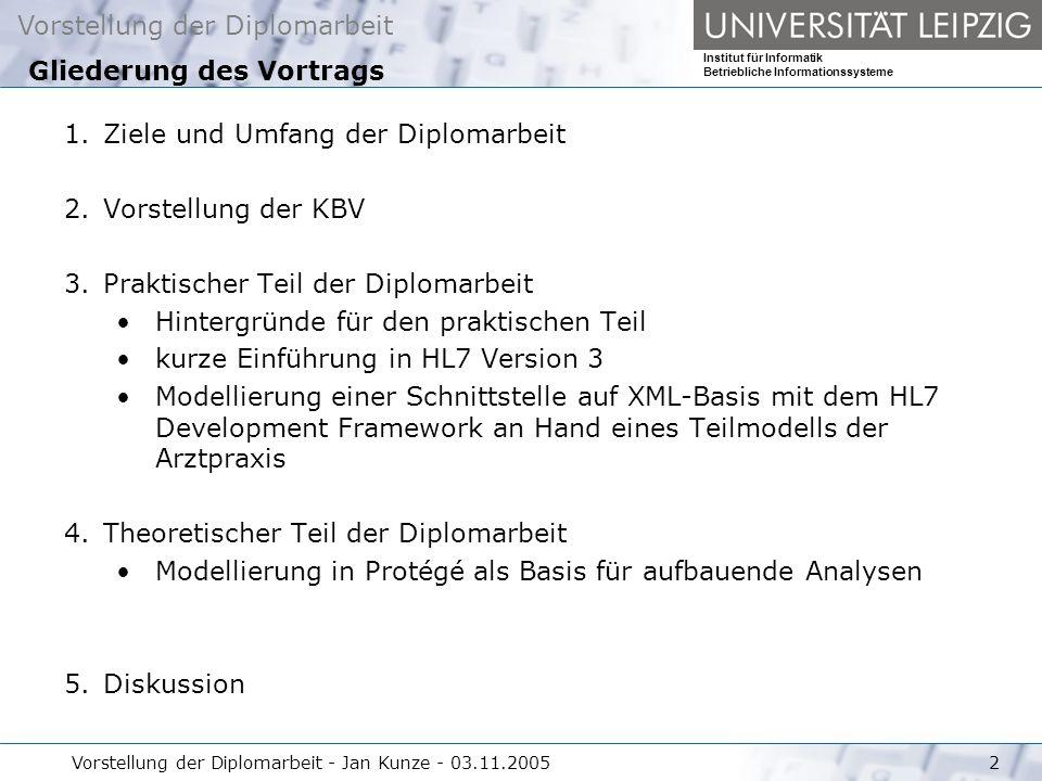 Vorstellung der Diplomarbeit Institut für Informatik Betriebliche Informationssysteme Vorstellung der Diplomarbeit - Jan Kunze - 03.11.20052 1.Ziele u