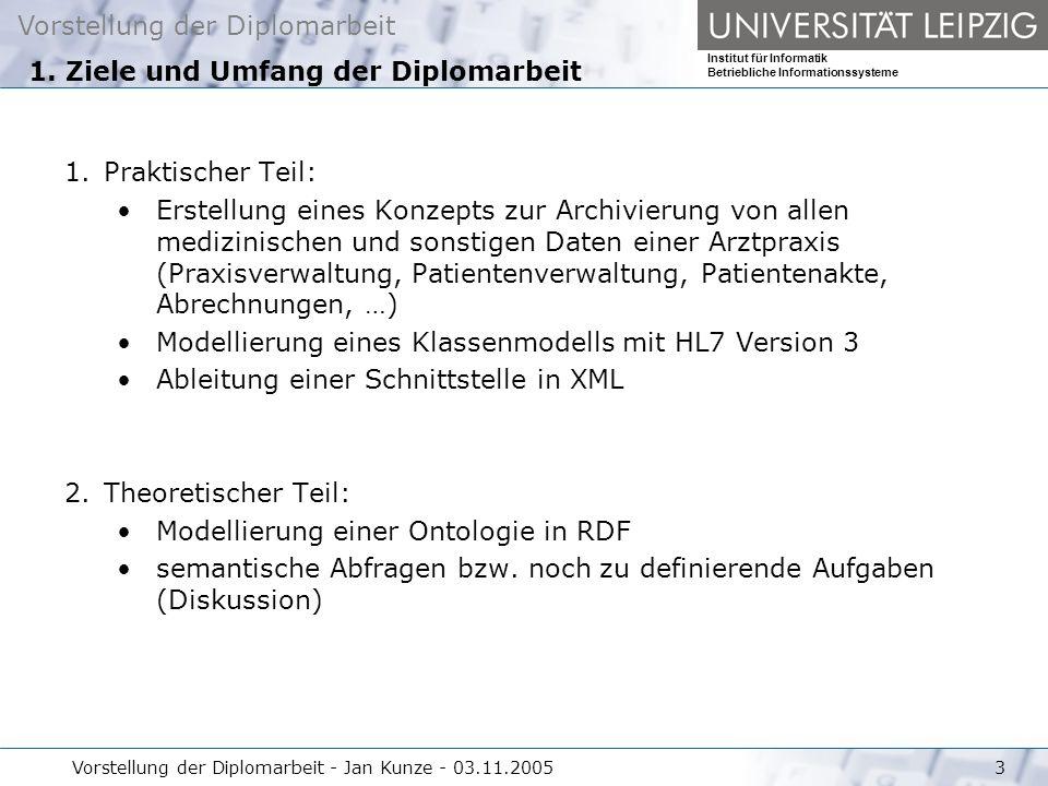 Vorstellung der Diplomarbeit Institut für Informatik Betriebliche Informationssysteme Vorstellung der Diplomarbeit - Jan Kunze - 03.11.20053 1. Ziele