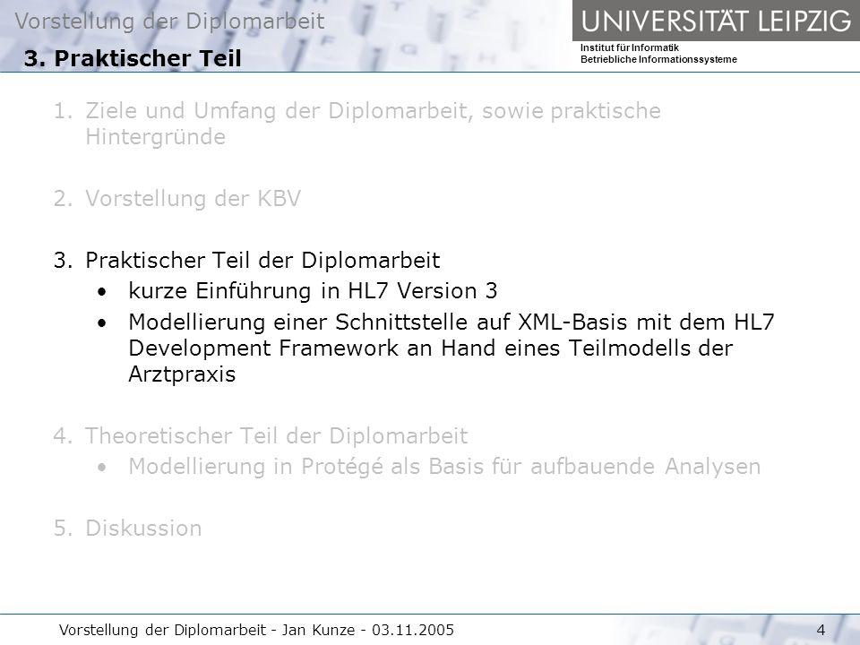 Vorstellung der Diplomarbeit Institut für Informatik Betriebliche Informationssysteme Vorstellung der Diplomarbeit - Jan Kunze - 03.11.200515 HL7: http://www.hl7.org/http://www.hl7.org/ Protégé: http://protege.stanford.edu/http://protege.stanford.edu/ KBV: http://www.kbv.de/http://www.kbv.de/ Literatur
