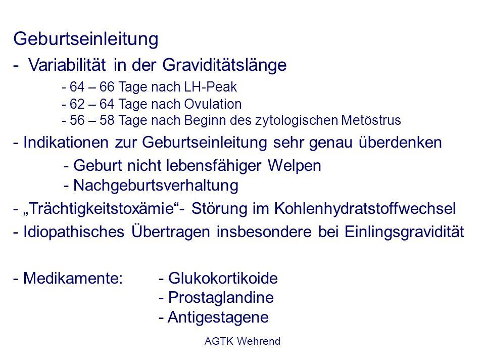 AGTK Wehrend Geburtseinleitung - Variabilität in der Graviditätslänge - 64 – 66 Tage nach LH-Peak - 62 – 64 Tage nach Ovulation - 56 – 58 Tage nach Be