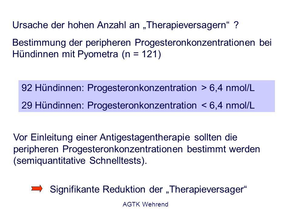 AGTK Wehrend Ursache der hohen Anzahl an Therapieversagern ? Bestimmung der peripheren Progesteronkonzentrationen bei Hündinnen mit Pyometra (n = 121)