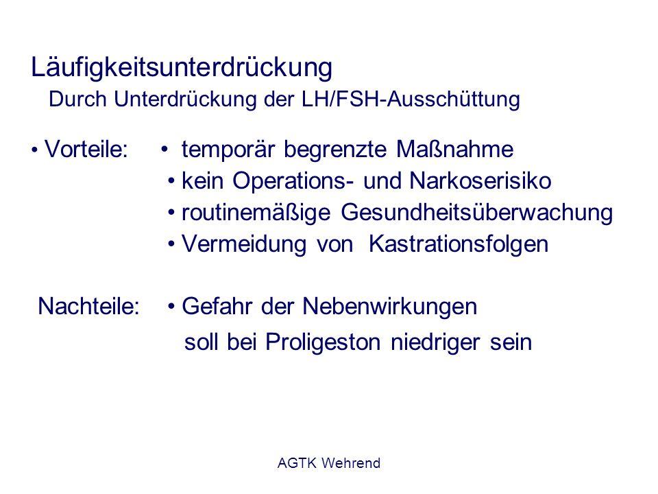 AGTK Wehrend Läufigkeitsunterdrückung Durch Unterdrückung der LH/FSH-Ausschüttung Vorteile: temporär begrenzte Maßnahme kein Operations- und Narkoseri