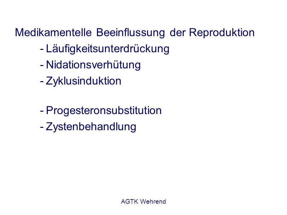 AGTK Wehrend Medikamentelle Beeinflussung der Reproduktion -Läufigkeitsunterdrückung -Nidationsverhütung -Zyklusinduktion -Progesteronsubstitution -Zy