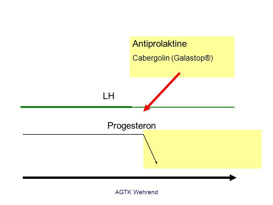 AGTK Wehrend Gestagene vielfältige Wirkungen im Organismus -Sekretionsphase des Endometriums -Schluss der Zervix, Ruhigstellung des Uterus -Mammogenese (lobulo-alveoläres System) -Stimulation Wachstumshormonsynthese -Insulinresistenz -basale Östrogenwerte -Keine trächtige Hündin -Hündin mit Mammatumoren -Diabetes mellitus -Lebererkrankungen potentielle Nebenwirkungen -Uteropathien (Pyometra, Mukometra) -Akromegalie: Wachstum Haut und innere Organe, Verlängerung Knochen -Verhalten: verstärkte Nahrungsaufnahme -Diabetes mellitus Nebenwirkungen der Depotgestagene