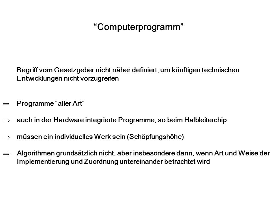Verwertungsrechte Recht des Urhebers (übertragbar): Urheber hat ausschließliches Recht an der Werknutzung, d.h.